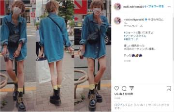 西山茉希、ズボン履いてる!?太もも全開の美脚ショットで私服姿を公開 画像