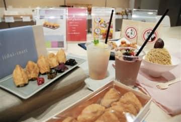 持ち帰り用に開発した人気飲食店のいなりずしやカクテル風ジュースなど4商品=10日、熊本市中央区