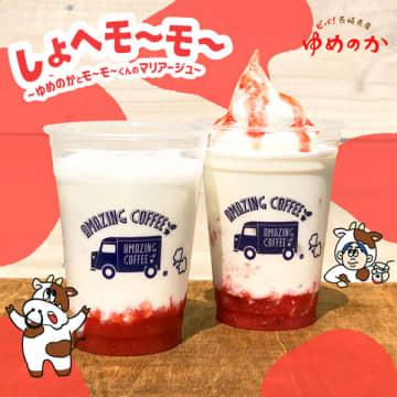 県産イチゴ「ゆめのか」を使った「しょへモ~モ~ ~ゆめのかとモ~モ~くんのマリアージュ~」(AMAZING COFFEE提供)