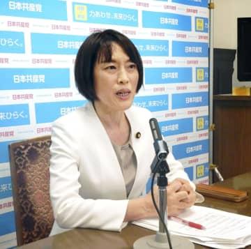 記者会見する共産党の田村智子政策委員長=11日午後、国会