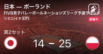 【速報中】日本vsポーランドは、ポーランドが第1セットを取る 画像
