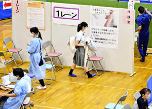 相馬市、高校生ら「集団接種」実施 新型コロナ、授業影響考慮