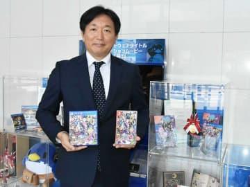 魔界戦記ディスガイアシリーズをPRする新川宗平社長=各務原市蘇原月丘町、日本一ソフトウェア