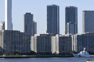 東京・晴海の選手村(手前海沿い)