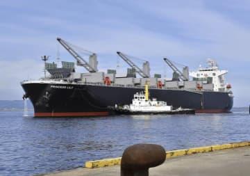 四国中央市の三島川之江港に初入港した大王海運の新造船「プリンセスリリー」=22日午前