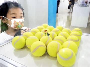 テニスボールを使ったミニチュアに見入る来場者