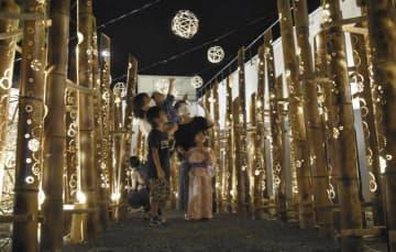 乙亥会館周辺に飾られた約400本の竹灯籠=22日午後8時40分ごろ、西予市野村町野村