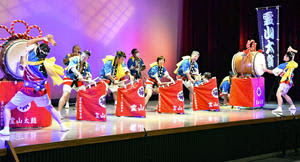 福島県芸術祭幕開け 2年ぶり式典、伊達で勇壮な霊山太鼓