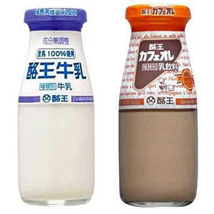 酪王牛乳(左)と酪王カフェオレ