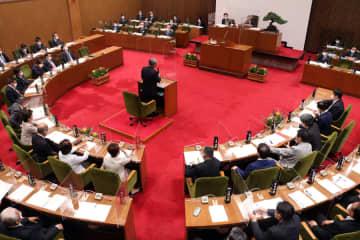 一般質問が始まった長崎市議会議場