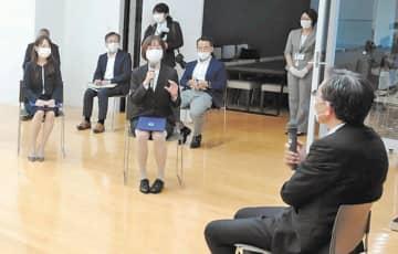 大野総長(右)に意見を述べる学生評議員ら