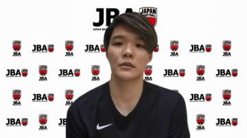 オンラインで取材に応じたバスケットボール女子日本代表候補の赤穂ひまわり=15日