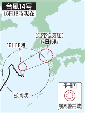 台風14号の予想進路(15日18時現在)