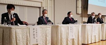 朝鮮半島の諸問題について語り合う有識者=12日、大阪市中央区