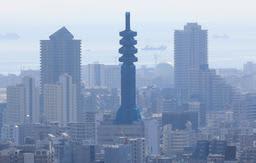工事のためネットで覆われ、シルエットが丸みを帯びた電波塔。ビル群の中の仏塔のよう=神戸市中央区のビーナスブリッジから