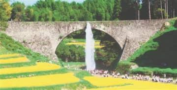 社会科見学の小学生や観光客が見守る中、放水する通潤橋=山都町