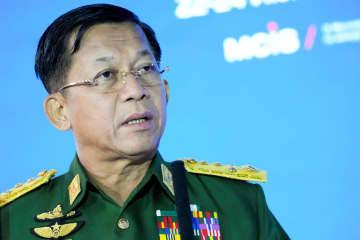 ミャンマー国軍トップのミン・アウン・フライン総司令官=6月、モスクワ(ロイター=共同)