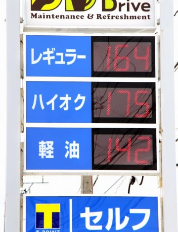 レギュラーガソリン160円台を示すガソリンスタンドの価格表示板。県内の平均小売価格は7年ぶりの高値水準となった=10月13日、福井県福井市内