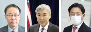 左から船越健裕アジア大洋州局長、米国のソン・キム北朝鮮担当特別代表、韓国の魯圭悳・朝鮮半島平和交渉本部長