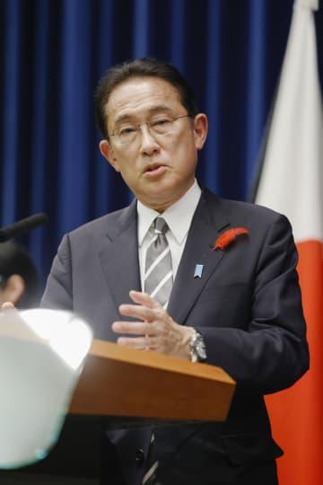 衆院を解散し、記者会見する岸田首相=14日午後7時53分、首相官邸