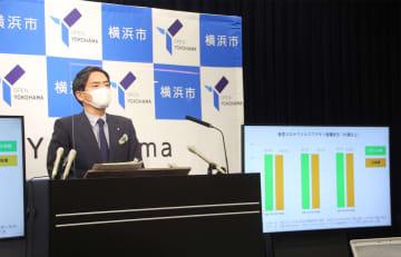 ワクチン接種率について説明する山中市長=13日、横浜市役所