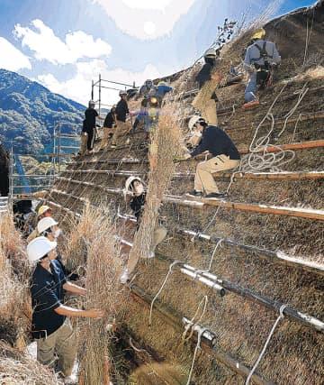 茅葺き屋根の葺き替えを体験する学生=南砺市の相倉合掌造り集落