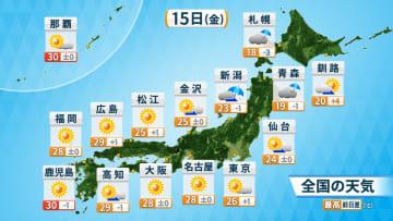15日(金)の全国の天気と予想最高気温