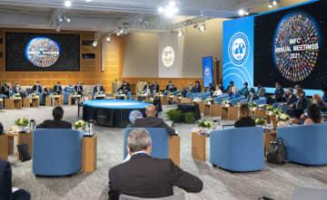 ワシントンで開かれた、IMFの運営方針を決める委員会=14日(IMF提供・共同)