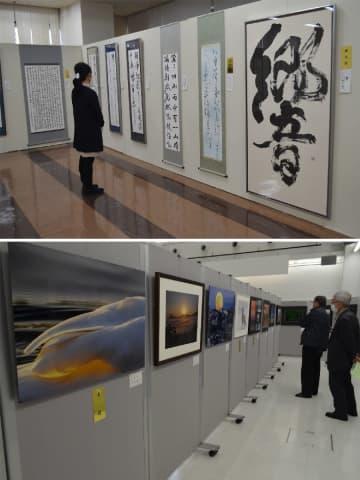 感性光る 書や写真 八戸市美術展、前期スタート