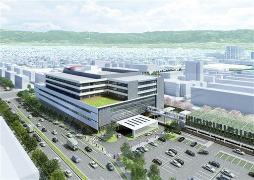 設計・施工契約した企業体が提案した、新築移転後の市民病院のイメージ図。手前が市中心部方面(熊本市民病院提供)