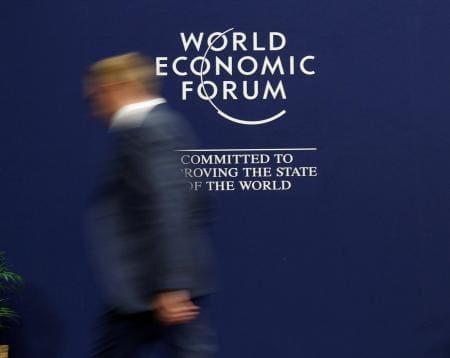 世界経済フォーラムのロゴ(ロイター=共同)