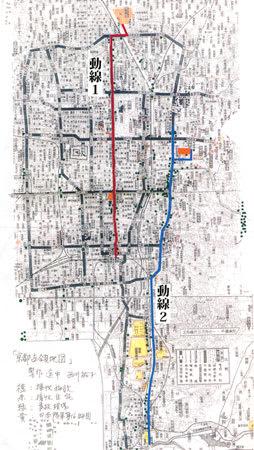 占領軍が起こした交通事故を西川さんが緑の点で書き込んだ。東大路通や烏丸通で事故が多い=「古都の占領」より