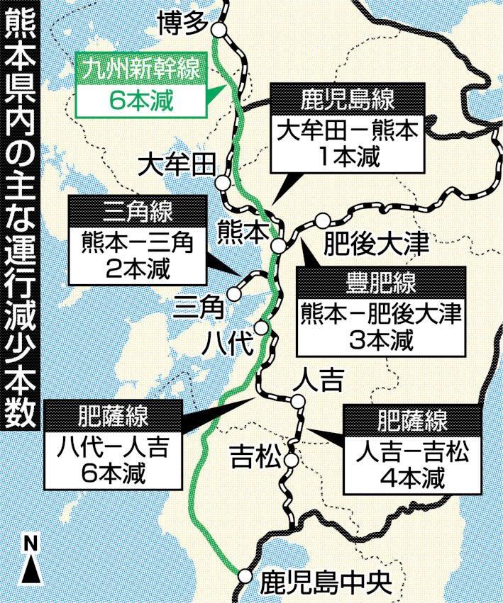 熊本県内の主な運行減少本数