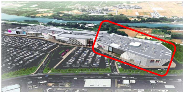 イオンモール熊本と増床棟(囲み部分)のイメージ