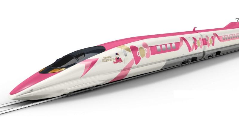 ハローキティのデザインをあしらった500系新幹線のイメージ(JR西日本提供)