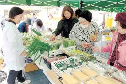 地場産の野菜や総菜が並んだ旬の市
