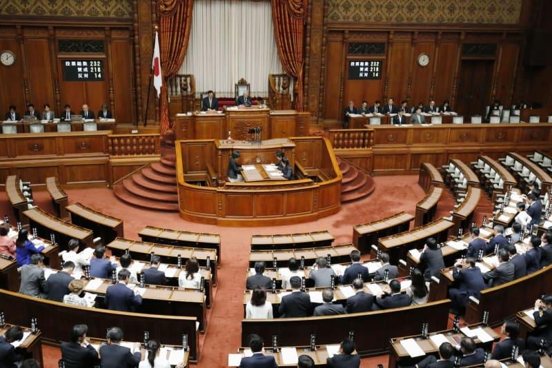 改正著作権法が可決、成立した参院本会議=18日午後