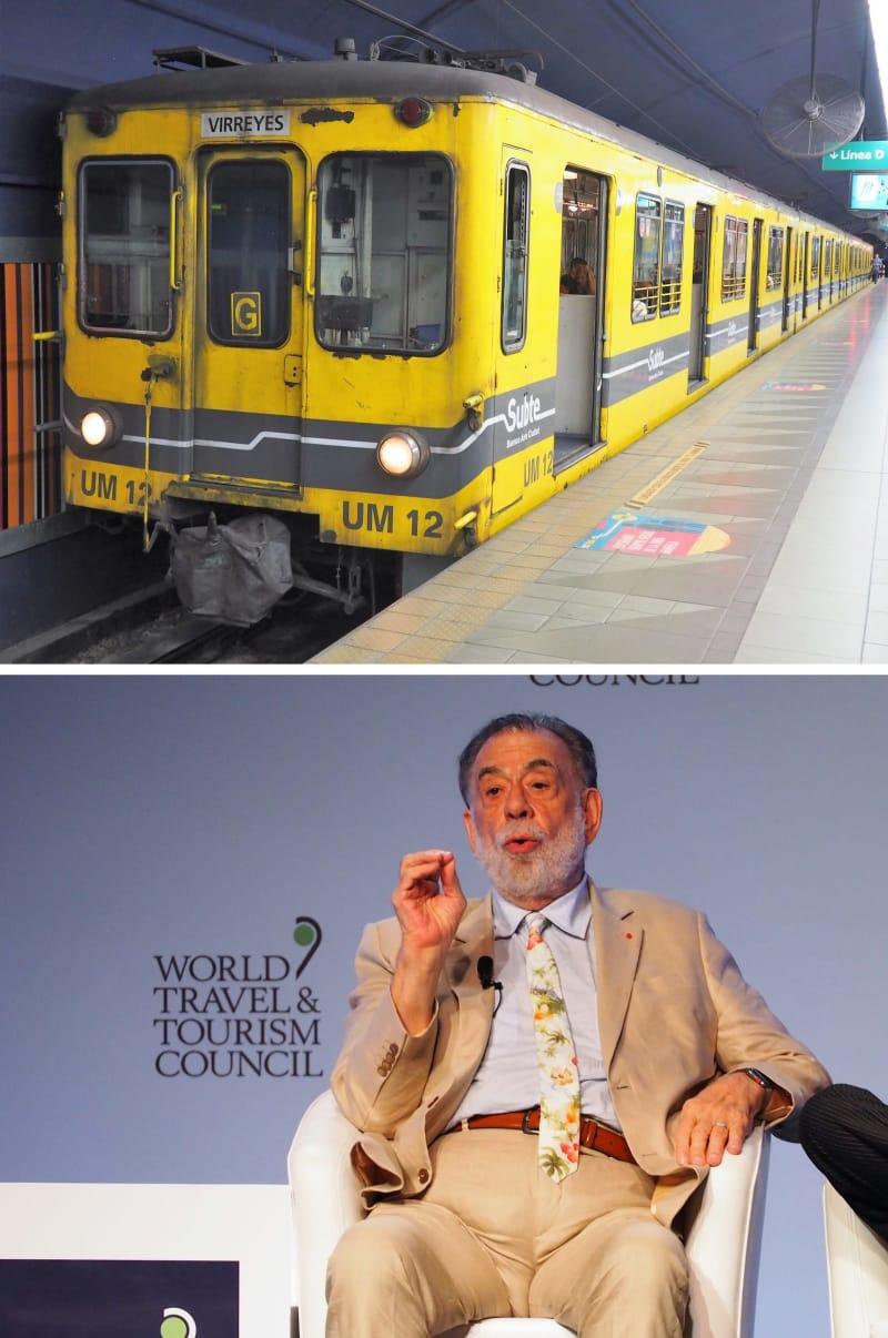 ブエノスアイレス地下鉄を走る古豪車両(上)と、WTTC年次総会で話すフランシス・コッポラ氏=4月、ブエノスアイレスで筆者撮影