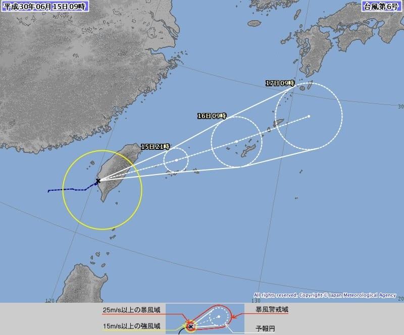 台風6号の進路予想図(気象庁HPより)