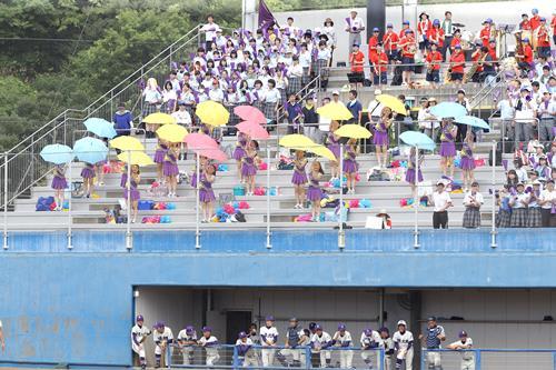 高校野球の試合会場で、猛暑をはね飛ばすようにカラーのビニール傘を振って声援を送る女子生徒ら=13日、長生の森野球場