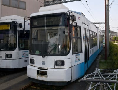 熊本市交通局の上熊本車庫で2012年から保管されている9700形1号車