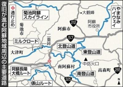 阿蘇方面の道路事情