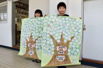 南小児童から受け取ったメッセージを掲げる(右から)鈴木凰主君と茉里奈さん