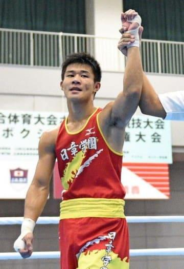 ボクシング男子ライト級で2連覇を果たした日章学園の斎藤麗王=3日午後、広島市中区SC