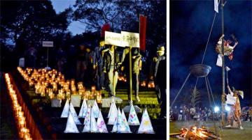 城山を幻想的に彩ったあかりサミットの作品(左)、城山かぐらまつり第20回記念九州大会で黒土神楽講が披露した湯立神楽。高さ約10メートルの竹に登って軽業を披露し、観客を沸かせた(右)