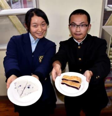 本庄高の生徒が開発したブルーベリーのレアチーズケーキ(左)と、試作したパイ