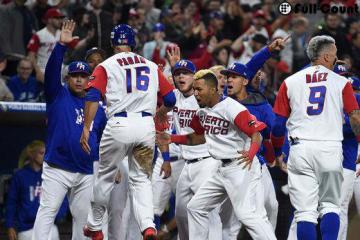 アメリカを破り2次ラウンド突破を決めたプエルトリコ代表【写真:Getty Images】