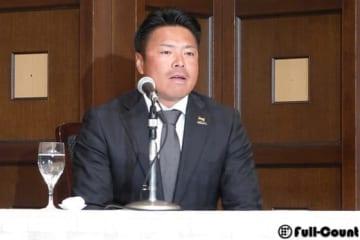 現役引退を発表した福島ホープス・岩村明憲選手兼監督兼球団代表【写真:編集部】