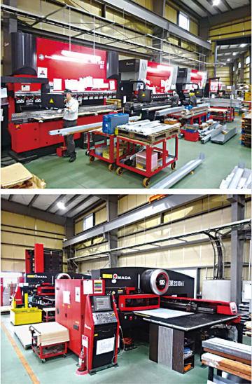 ベンダー、パンチプレスなど板金加工設備が並ぶ「新和」構内