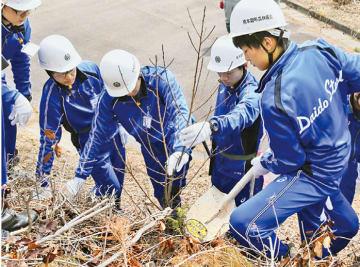 新入社員88人(大同本体およびグループ会社の高卒者)が長野県南木曽町にある「だいどうの森」で森林保護活動